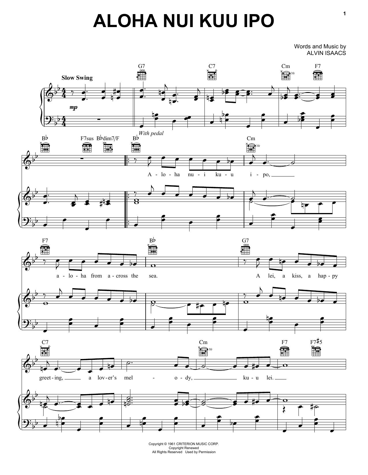 Aloha Nui Kuu Ipo (Piano, Vocal & Guitar (Right-Hand Melody))
