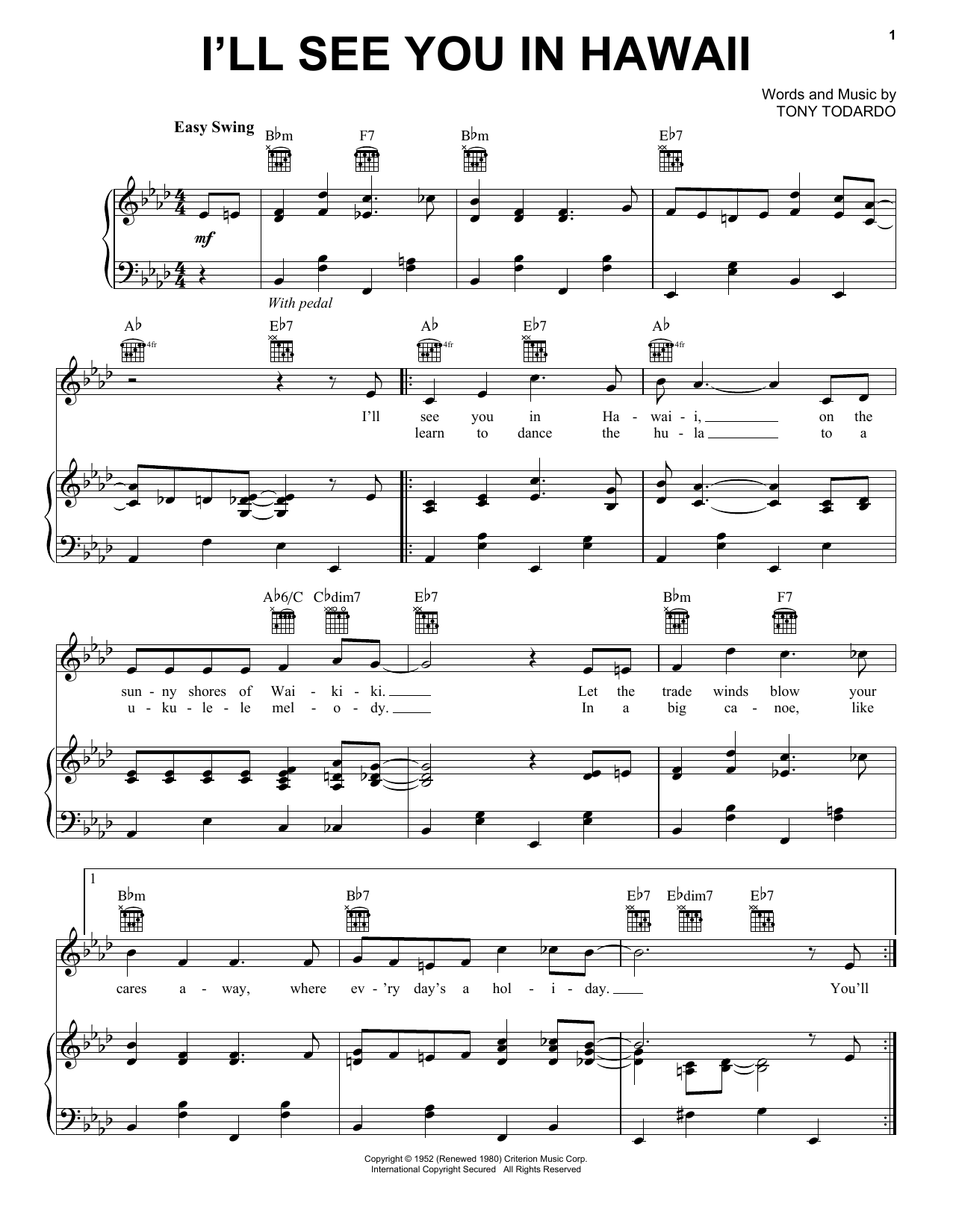 I'll See You In Hawaii (Piano, Vocal & Guitar (Right-Hand Melody))