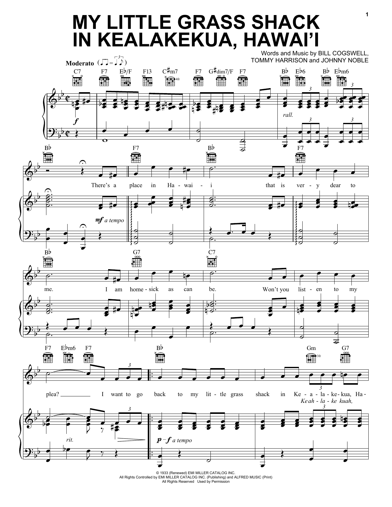 My Little Grass Shack In Kealakekua, Hawaii (Piano, Vocal & Guitar (Right-Hand Melody))