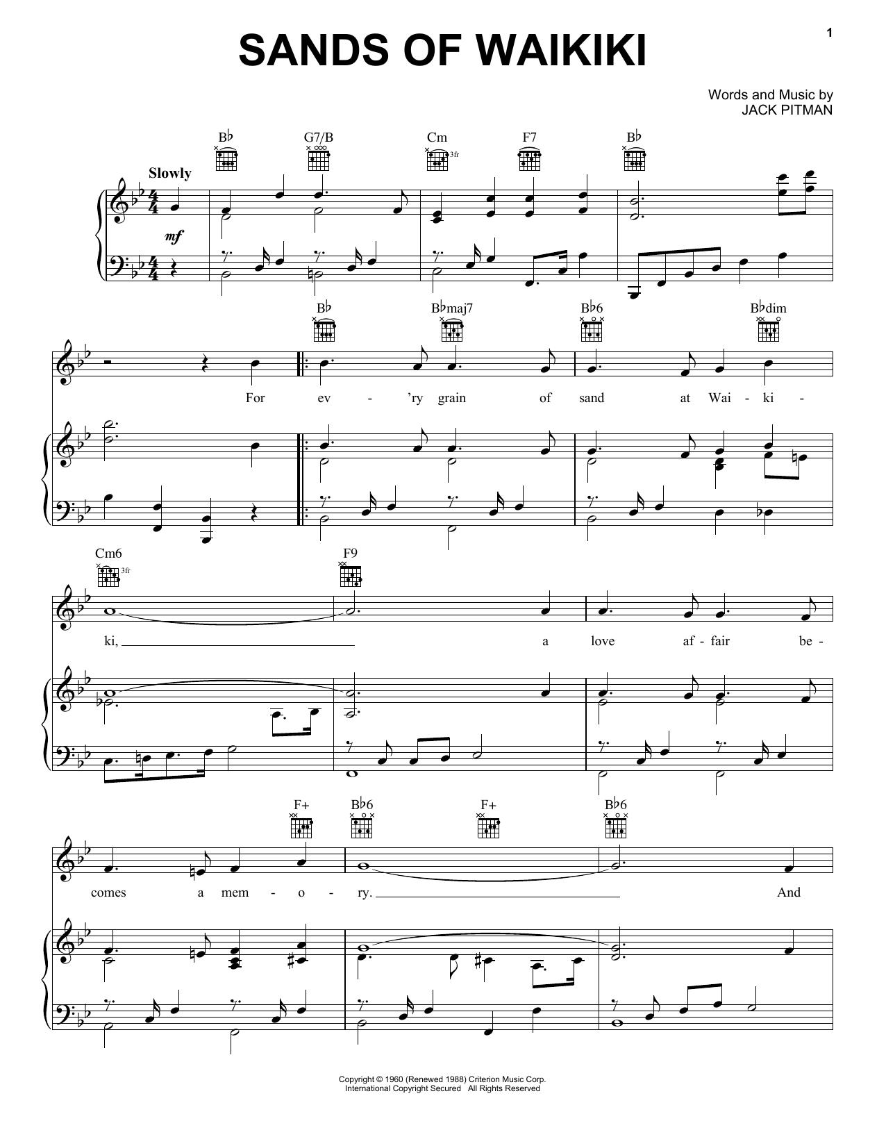 Sands Of Waikiki (Piano, Vocal & Guitar (Right-Hand Melody))