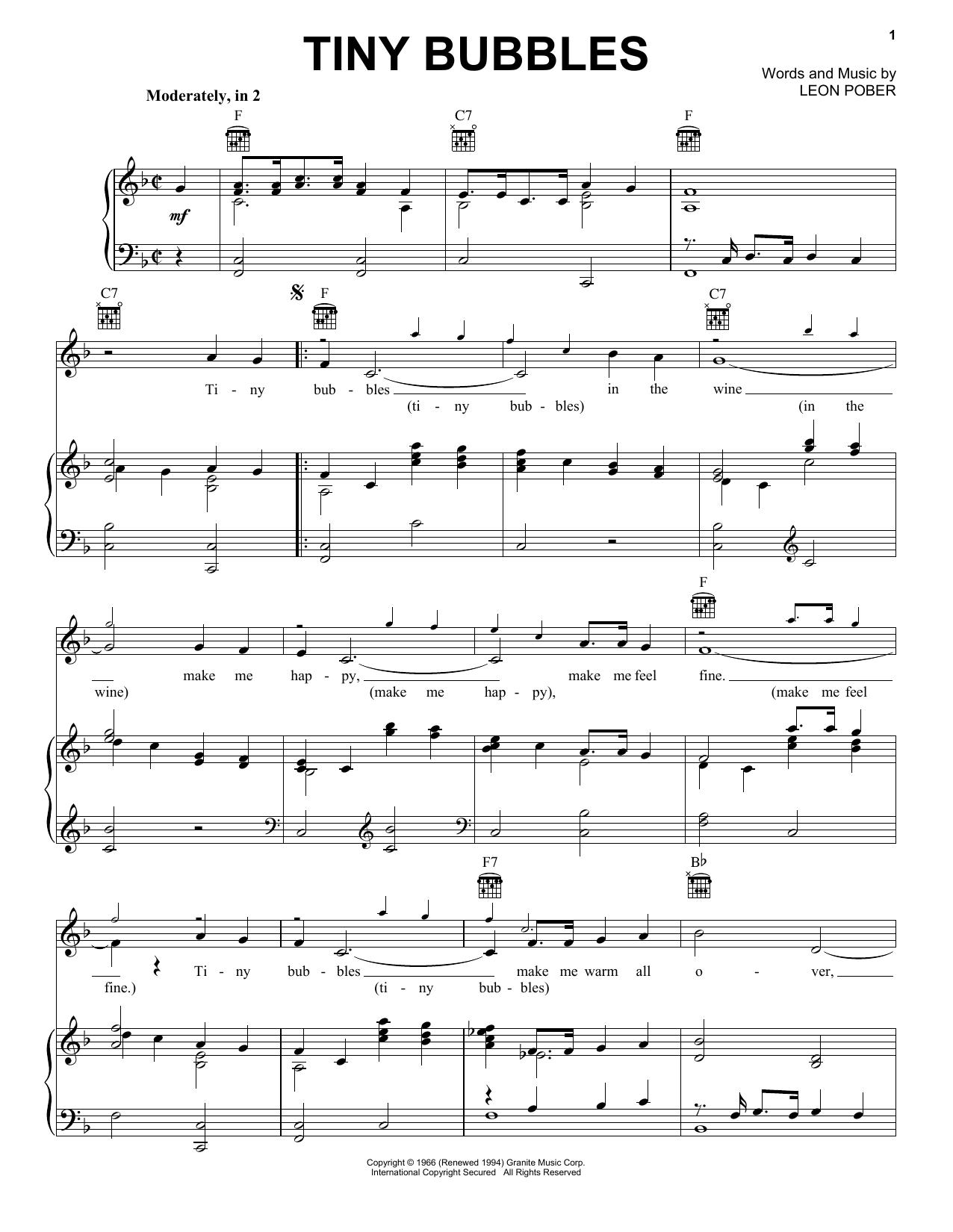 Tiny Bubbles (Piano, Vocal & Guitar (Right-Hand Melody))