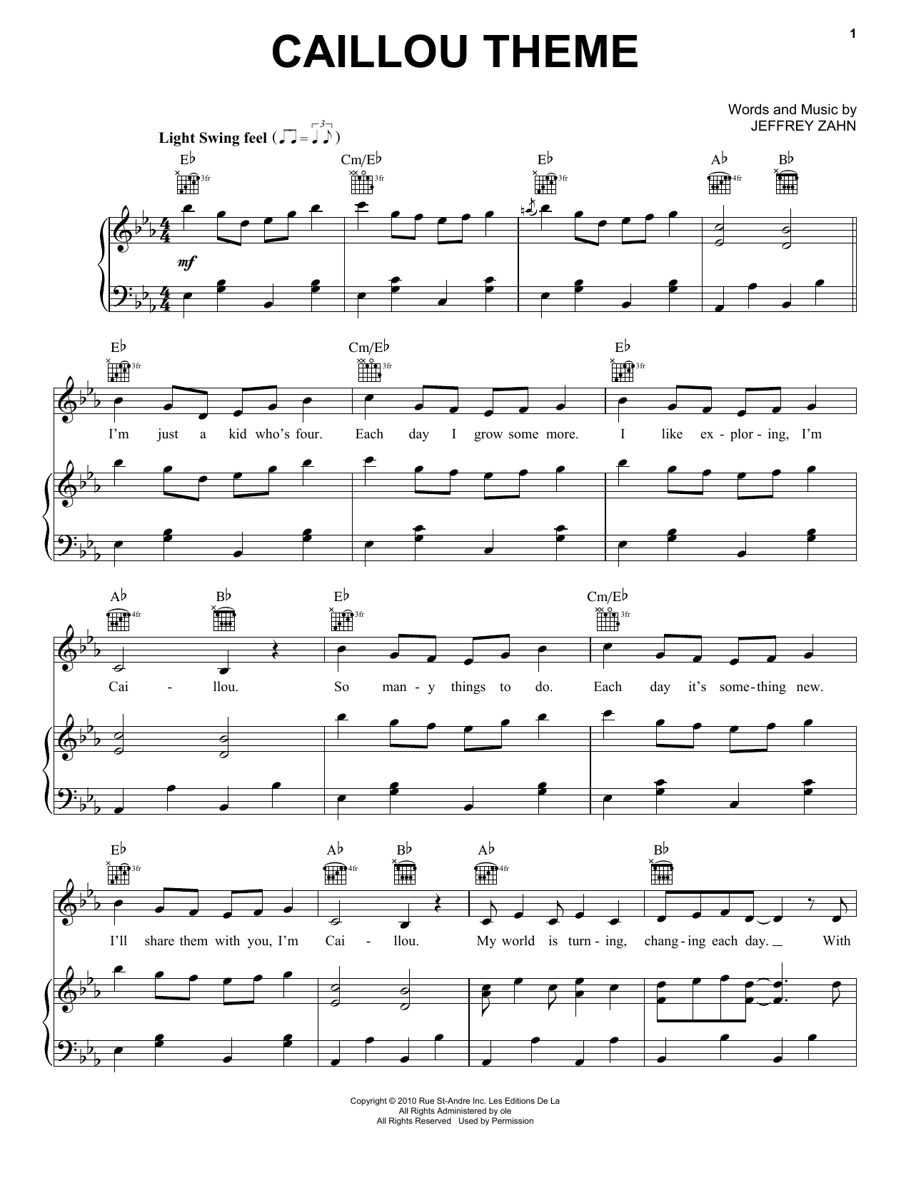 Caillou Theme (Piano, Vocal & Guitar (Right-Hand Melody))
