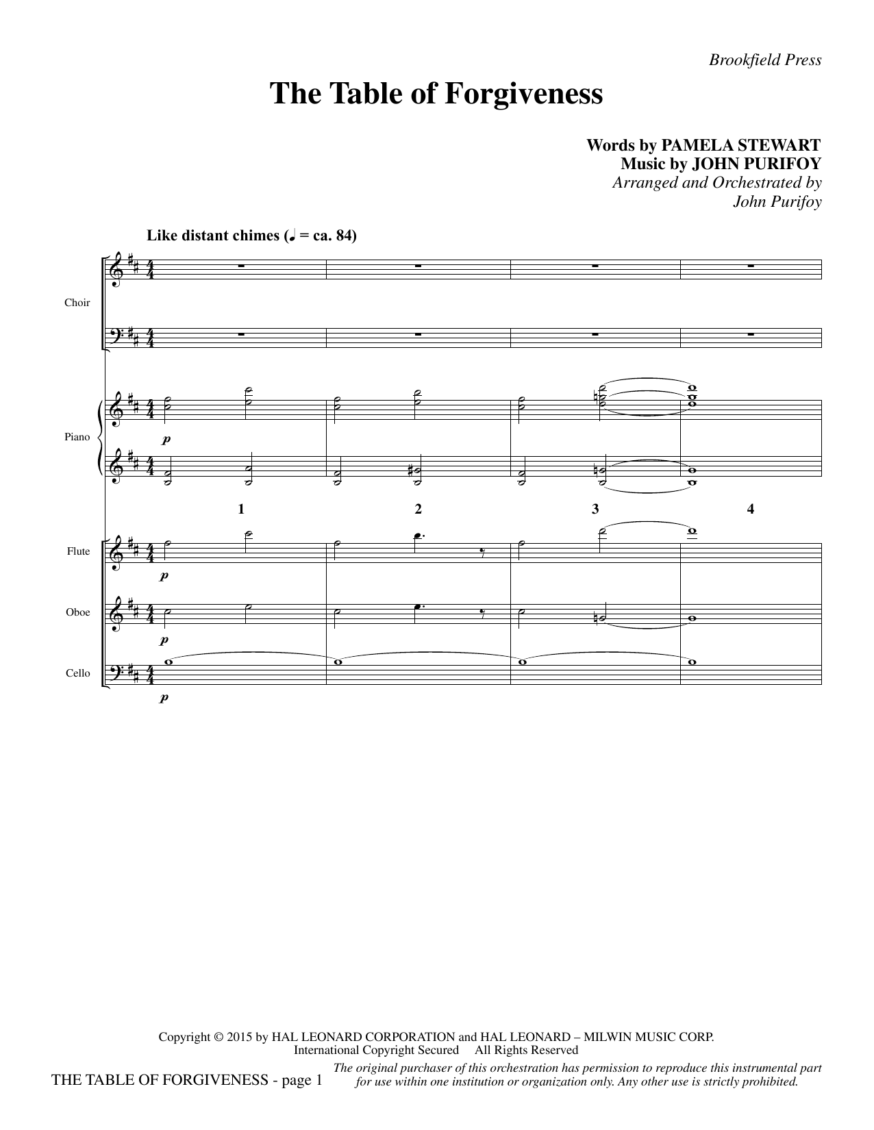 The Table of Forgiveness - Full Score (Choir Instrumental Pak)