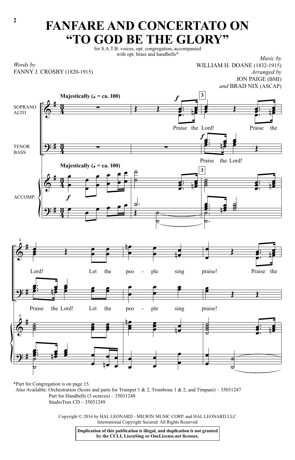 "Fanfare And Concertato On ""To God Be The Glory"" Sheet Music"