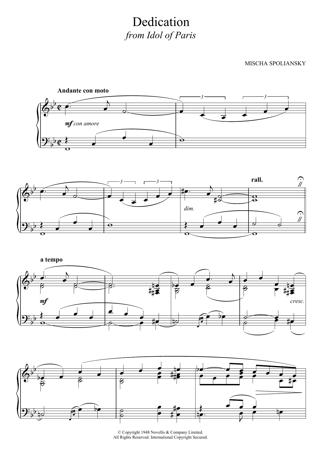 Dedication (from Idol Of Paris) Sheet Music