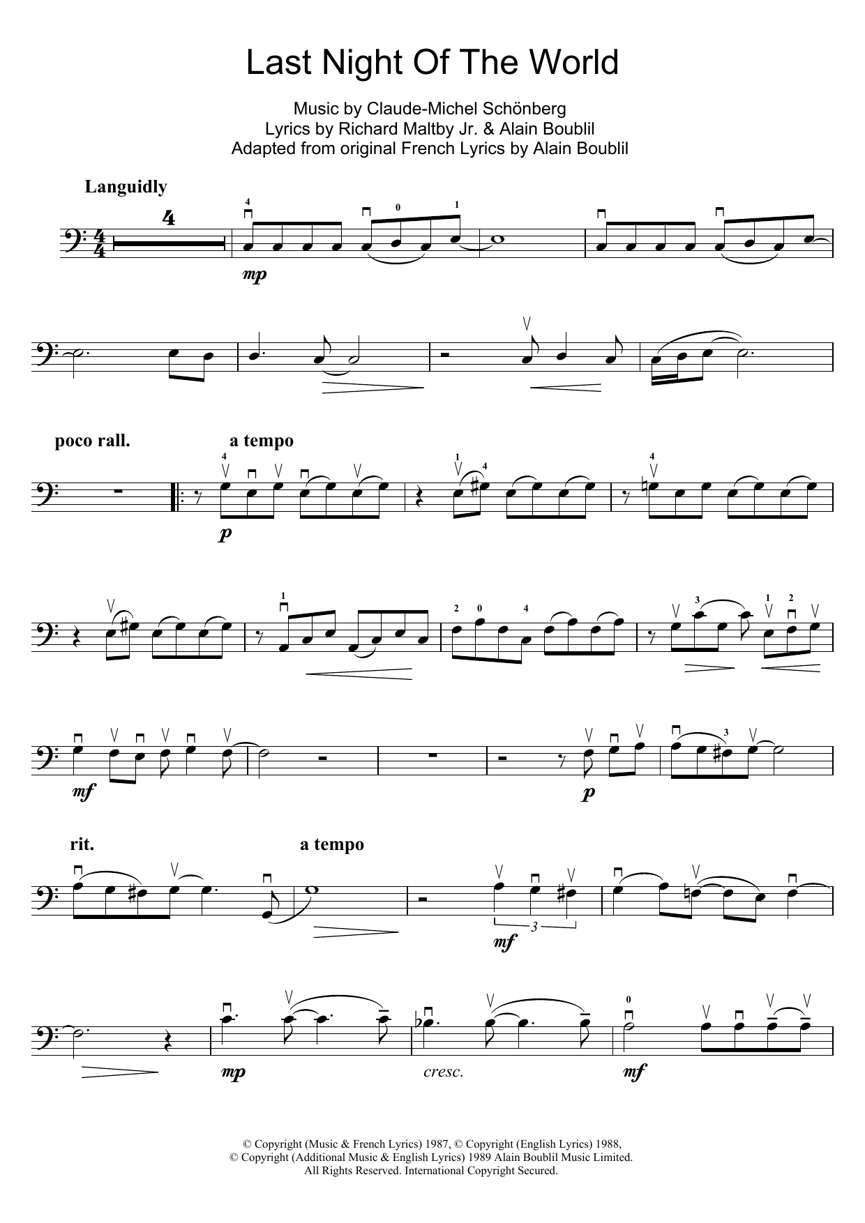 The Last Night Of The World (from Miss Saigon) (Cello Solo)