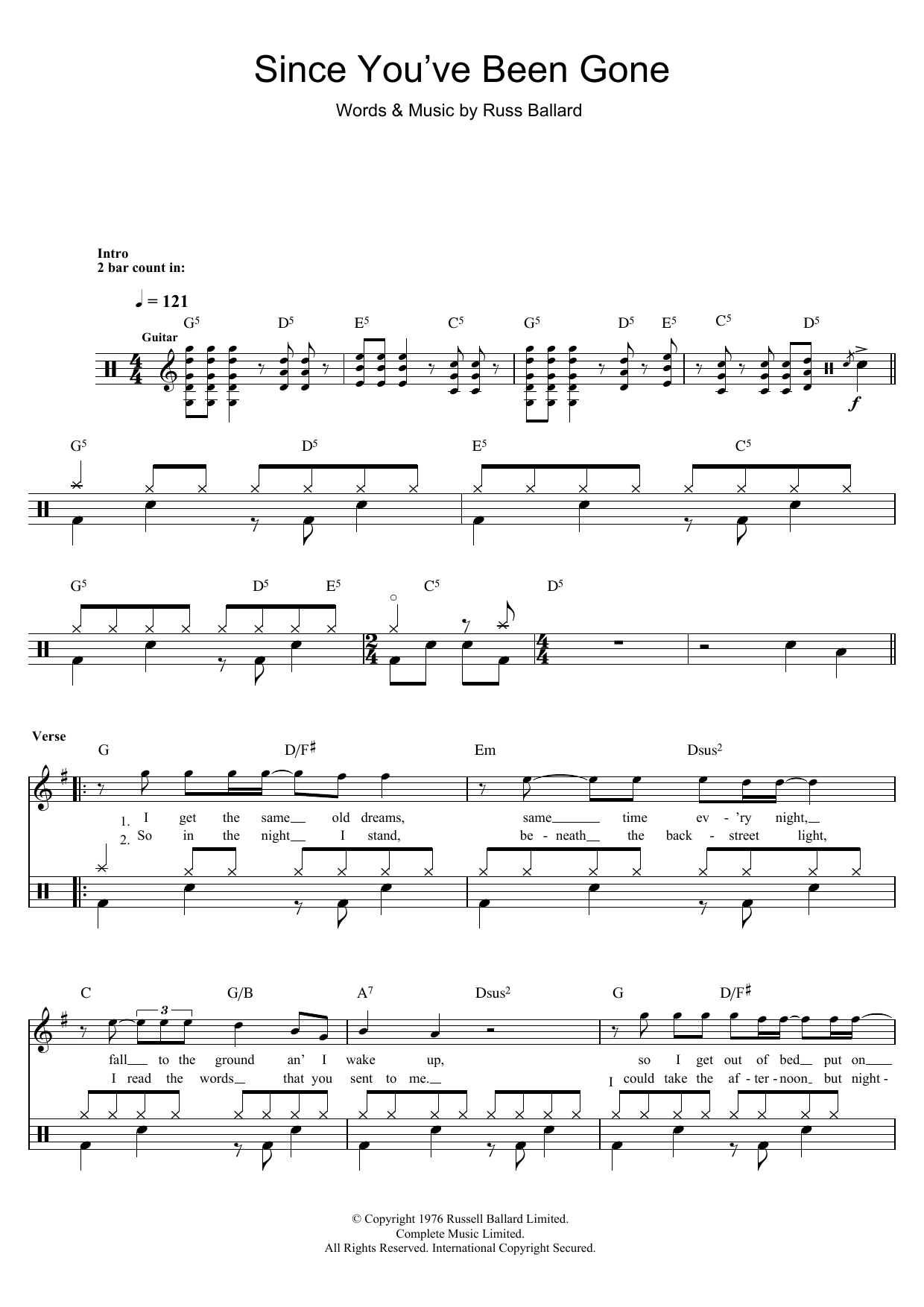 Since Youve Been Gone Sheet Music Rainbow Drums