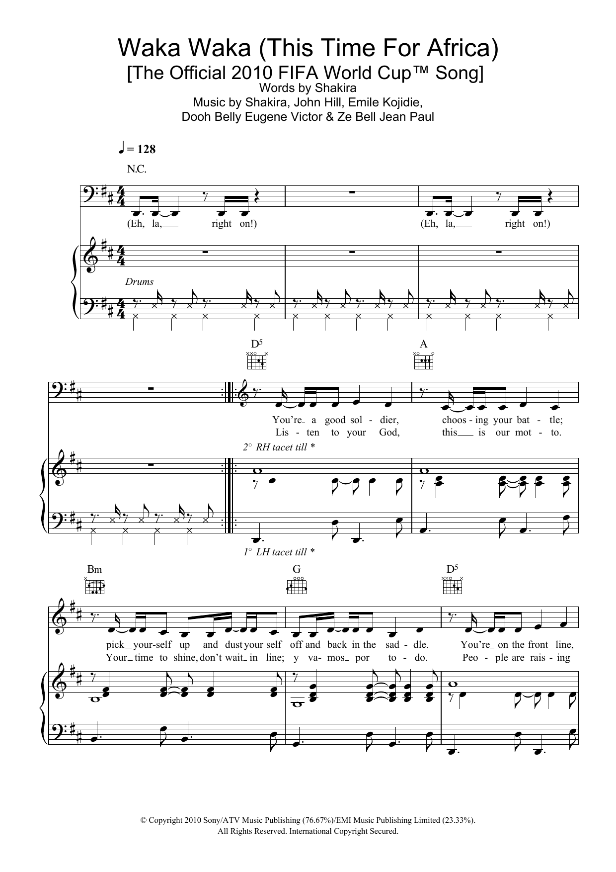 Waka Waka (This Time For Africa) (featuring Freshlyground) (Piano, Vocal & Guitar)