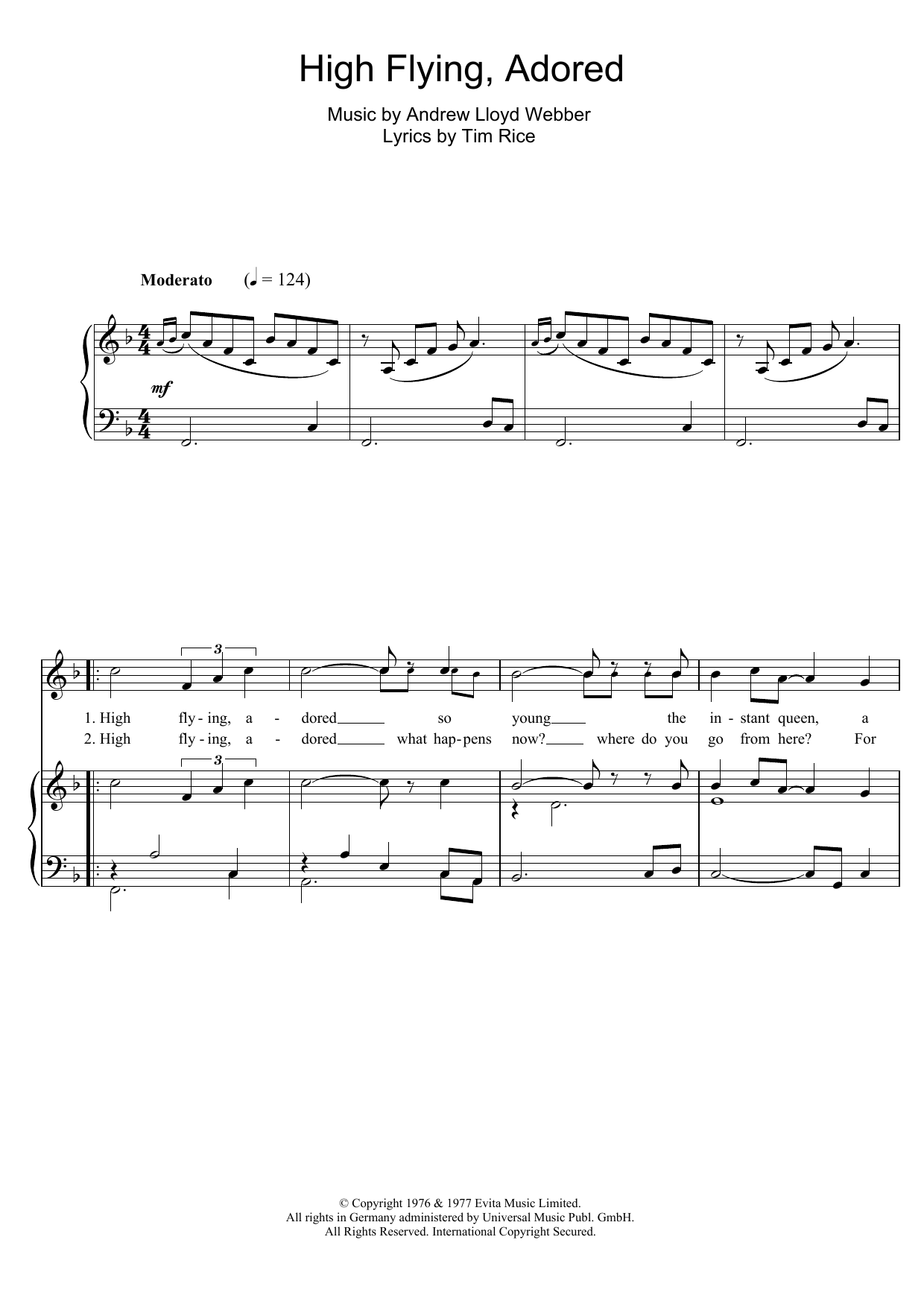 High Flying, Adored (from Evita) (Piano & Vocal)