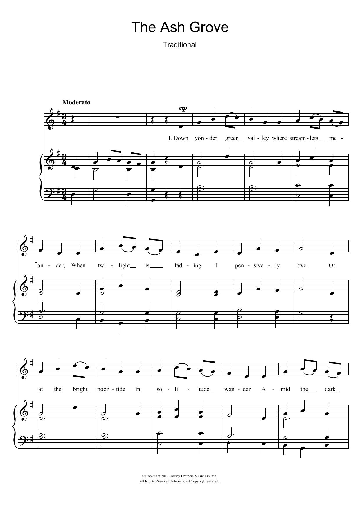 The Ash Grove (Piano & Vocal)