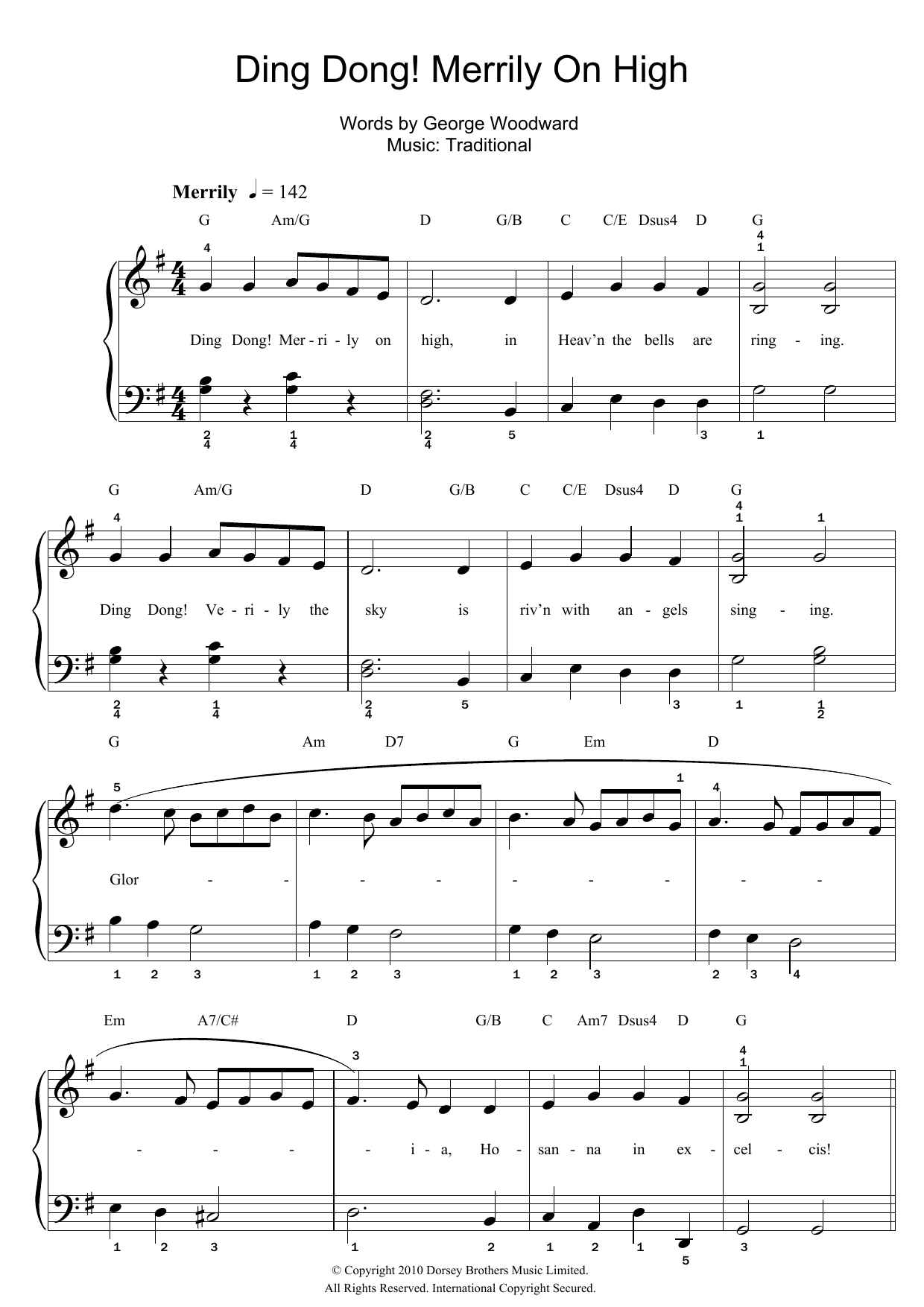 Ding dong merrily on high lyrics and chords