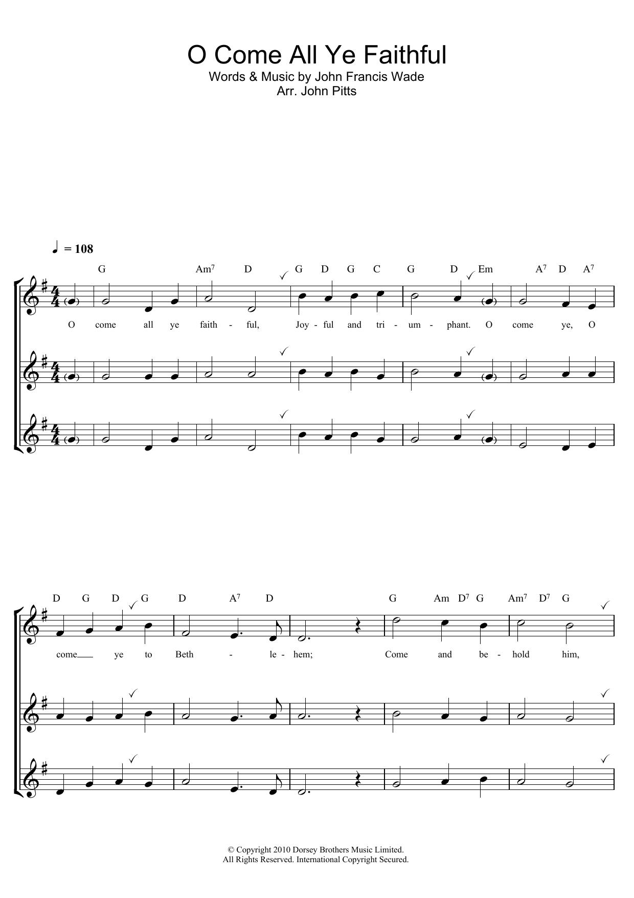 O Come All Ye Faithful Sheet Music | Christmas Carol | Recorder