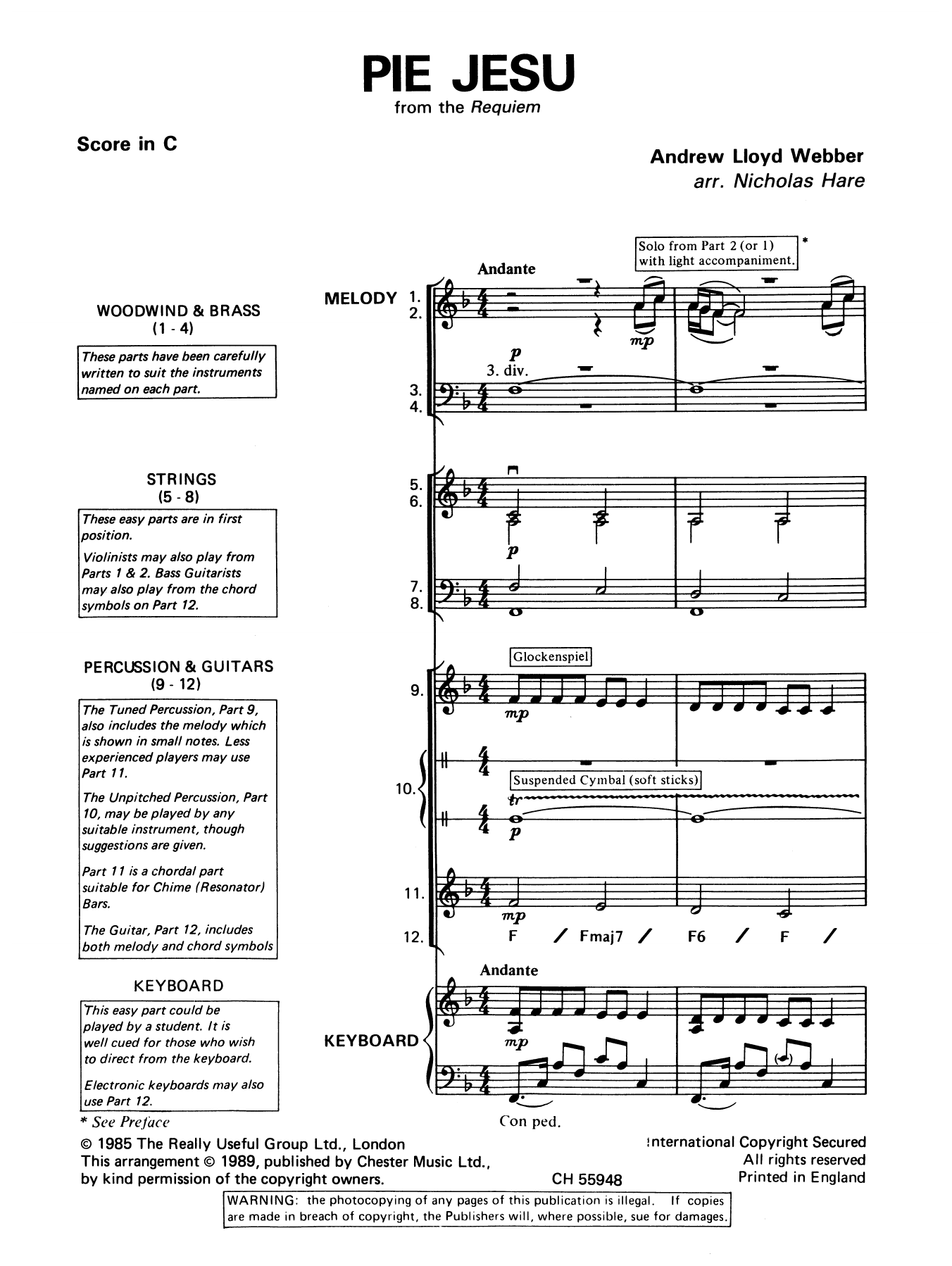 Pie Jesu From Requiem By Andrew Lloyd Webber Classroom Band Pack Digital Sheet Music