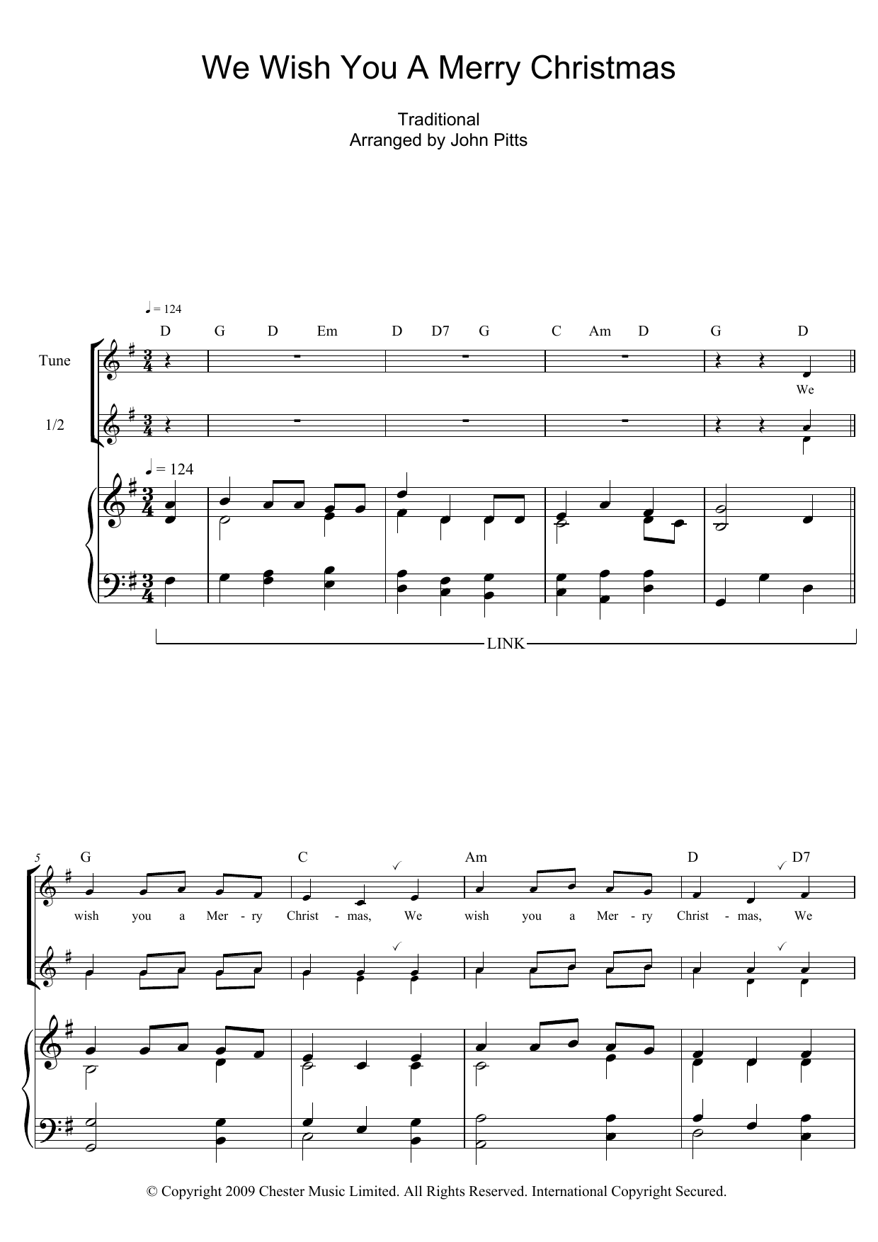 We Wish You A Merry Christmas Sheet Music | Christmas Carol | Recorder