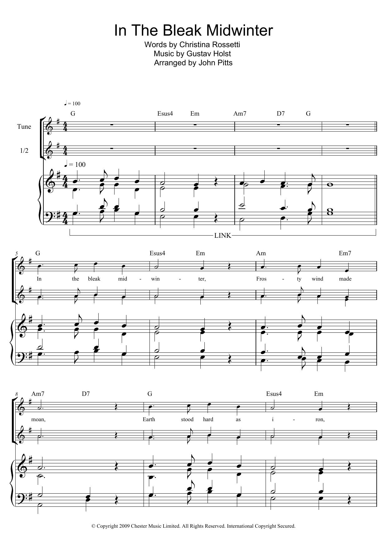 In The Bleak Midwinter Christmas Carol Soprano Descant Recorder