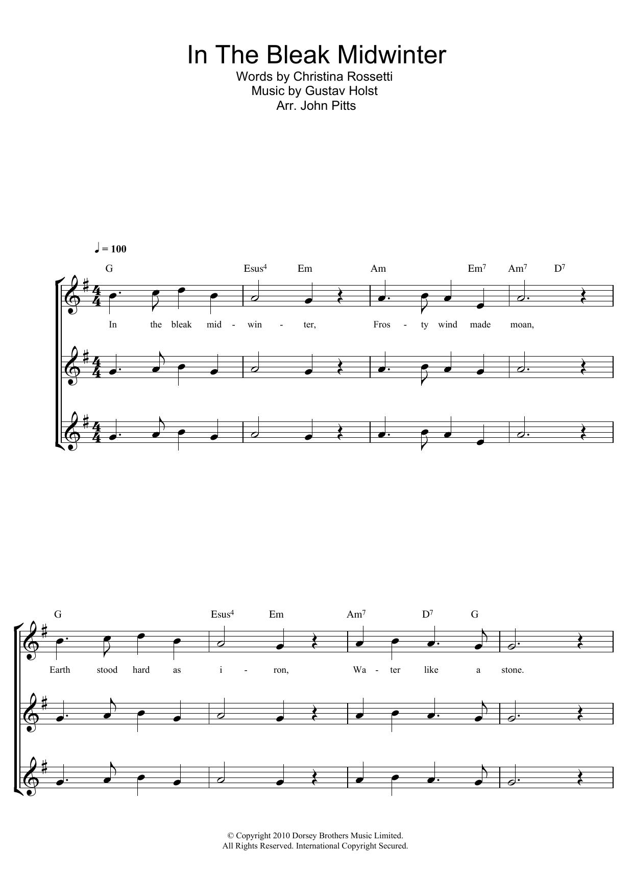 In The Bleak Midwinter Sheet Music Christmas Carol Soprano