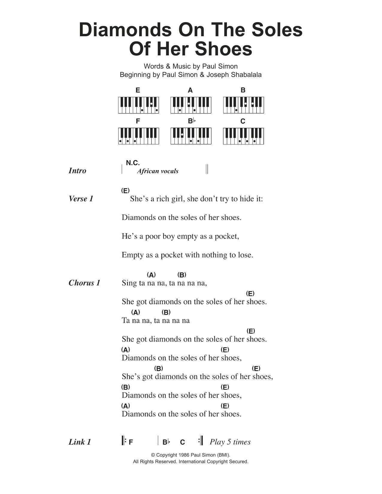 Diamonds On The Soles Of Her Shoes Paul Simon Lyrics Piano Chords