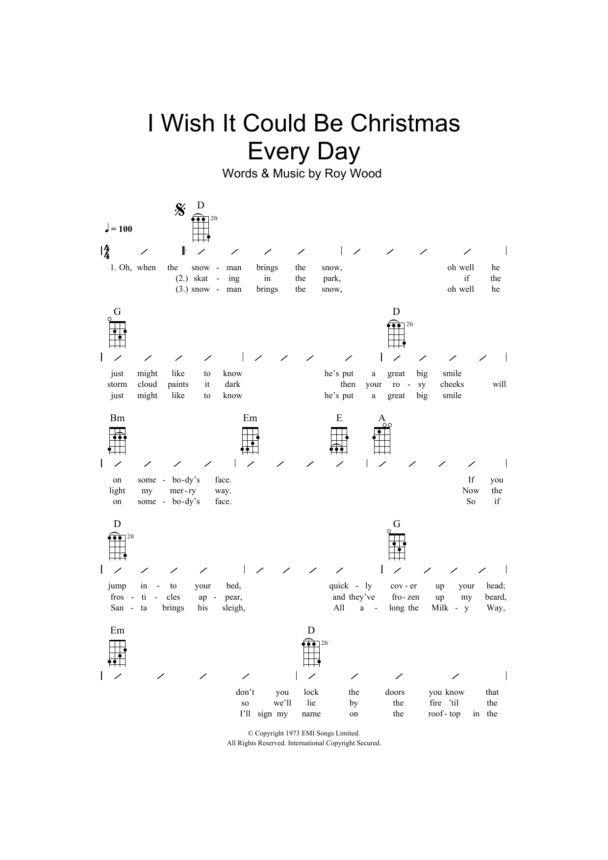 I Wish It Could Be Christmas Every Day Sheet Music | Wizzard ...