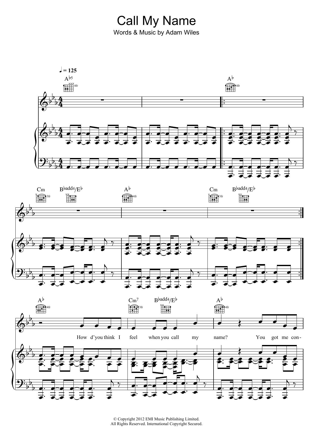 Call My Name (Piano, Vocal & Guitar)