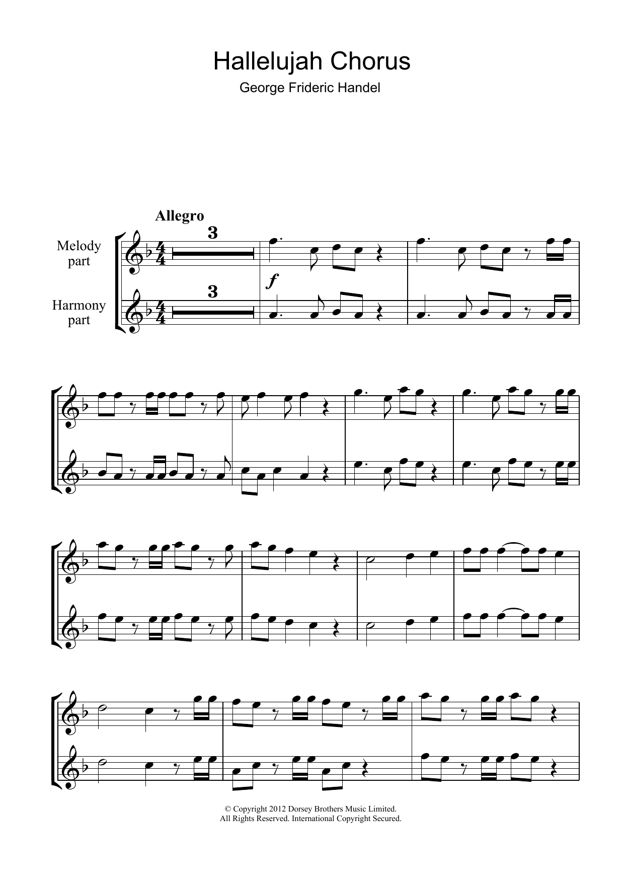 Hallelujah Chorus (from The Messiah) Sheet Music | George Frideric ...