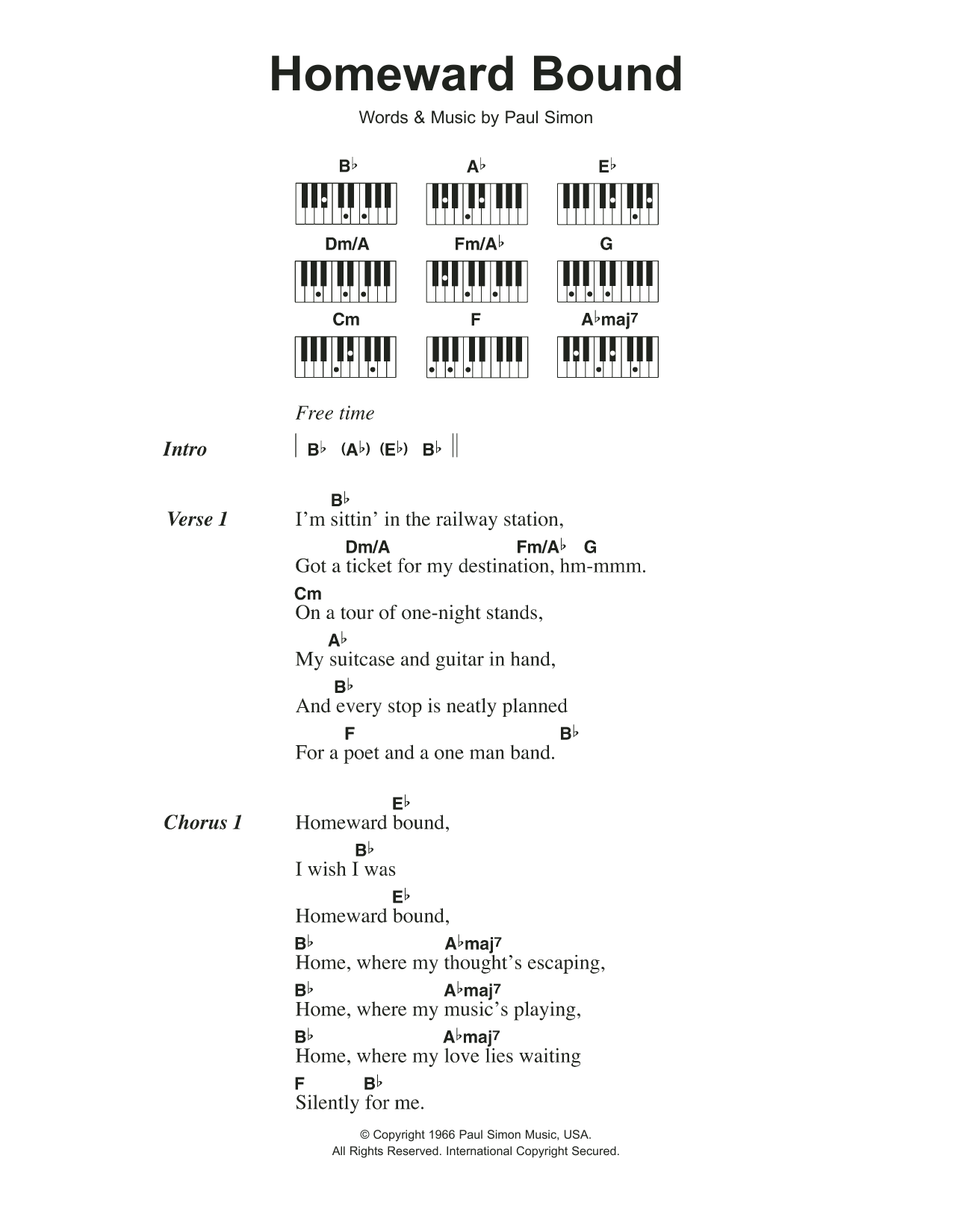Homeward Bound Sheet Music   Simon & Garfunkel   Piano Chords/Lyrics
