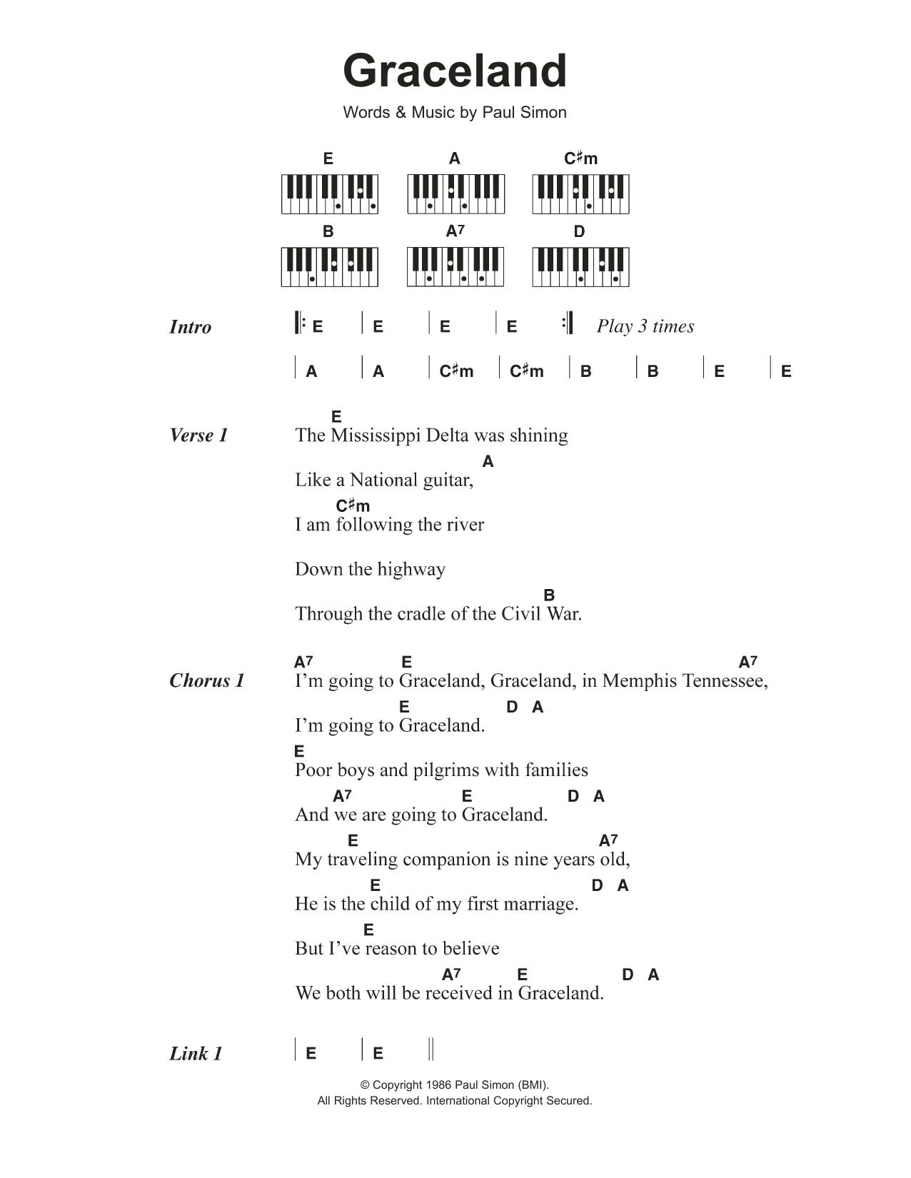 Graceland (Piano Chords/Lyrics)