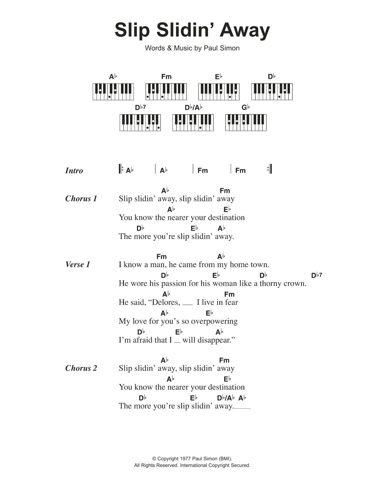 Slip Slidin Away Sheet Music Paul Simon Lyrics Piano Chords