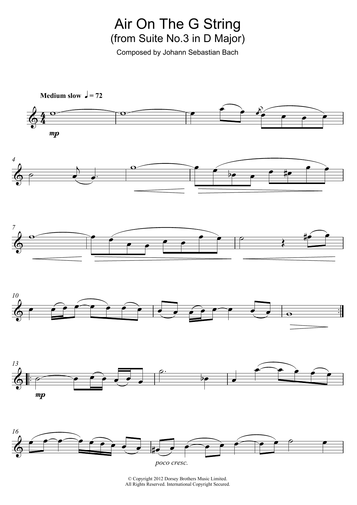 Air On The G String (from Suite No.3 in D Major) (Alto Sax Solo)