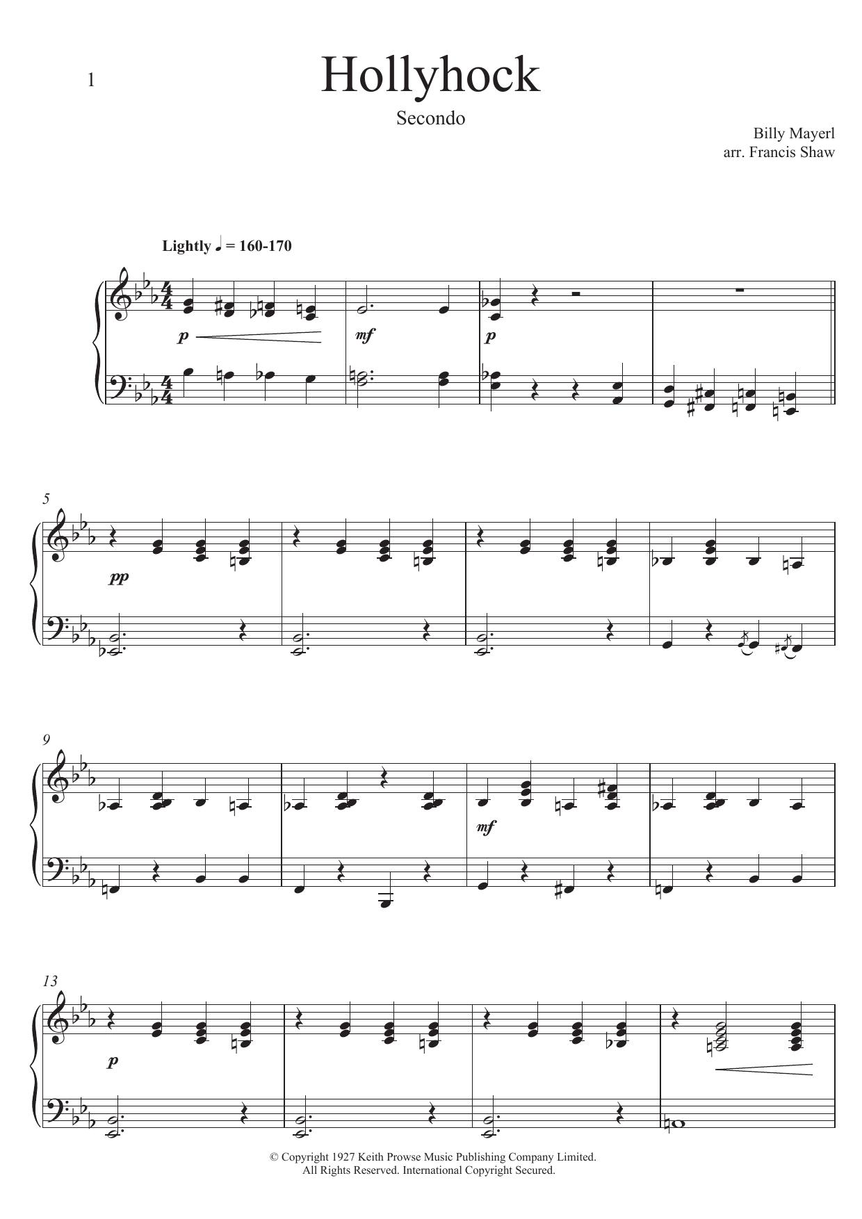 Hollyhock by Billy Mayerl Piano Duet Digital Sheet Music