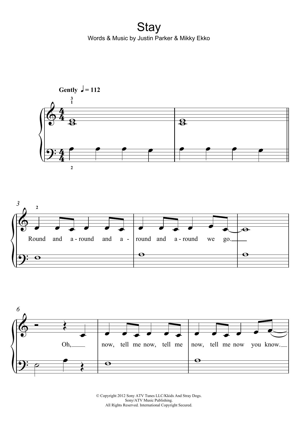 Stay by Rihanna Piano, Vocal & Guitar (Right-Hand Melody) Digital Sheet  Music