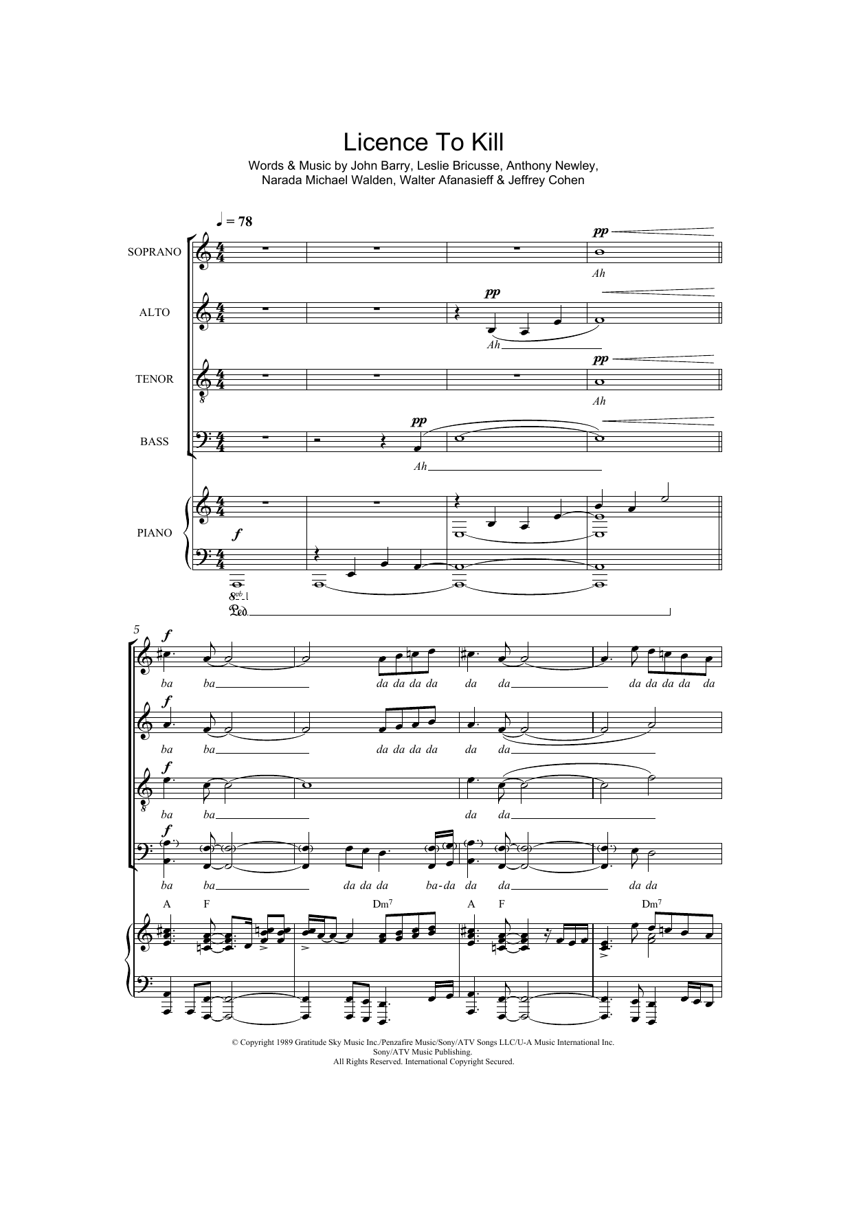 Licence To Kill (arr  Thomas Lydon) by Gladys Knight SATB Choir Digital  Sheet Music