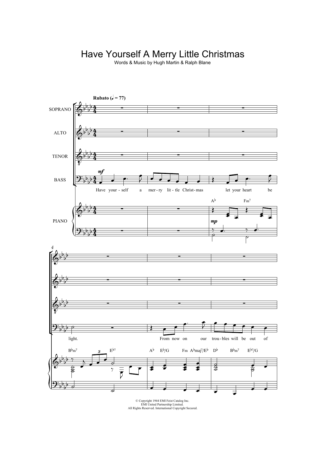 Frank Sinatra Have Yourself A Merry Little Christmas.Have Yourself A Merry Little Christmas Arr Thomas Lydon By Frank Sinatra Satb Choir Digital Sheet Music
