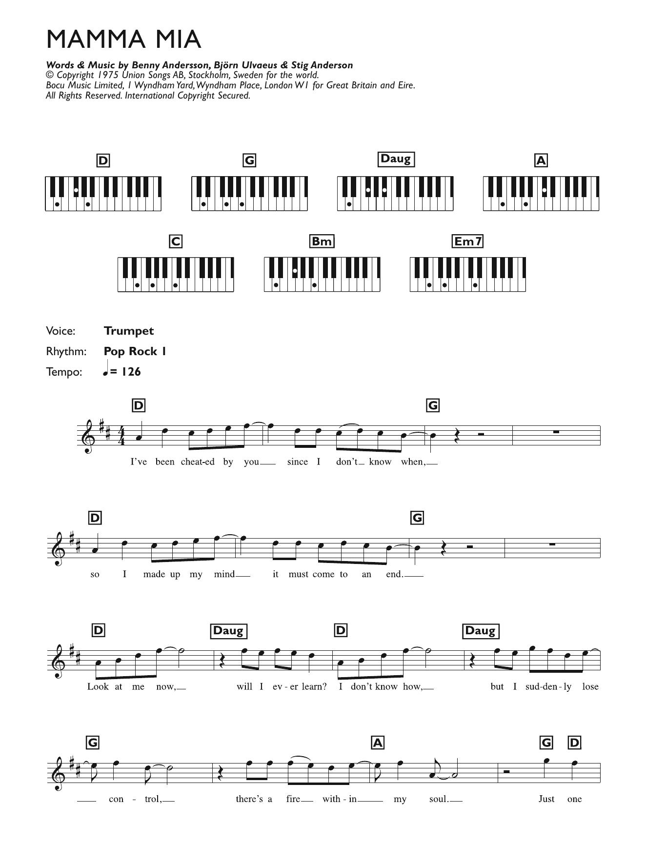 Mamma Mia Sheet Music   ABBA   Keyboard (Abridged)