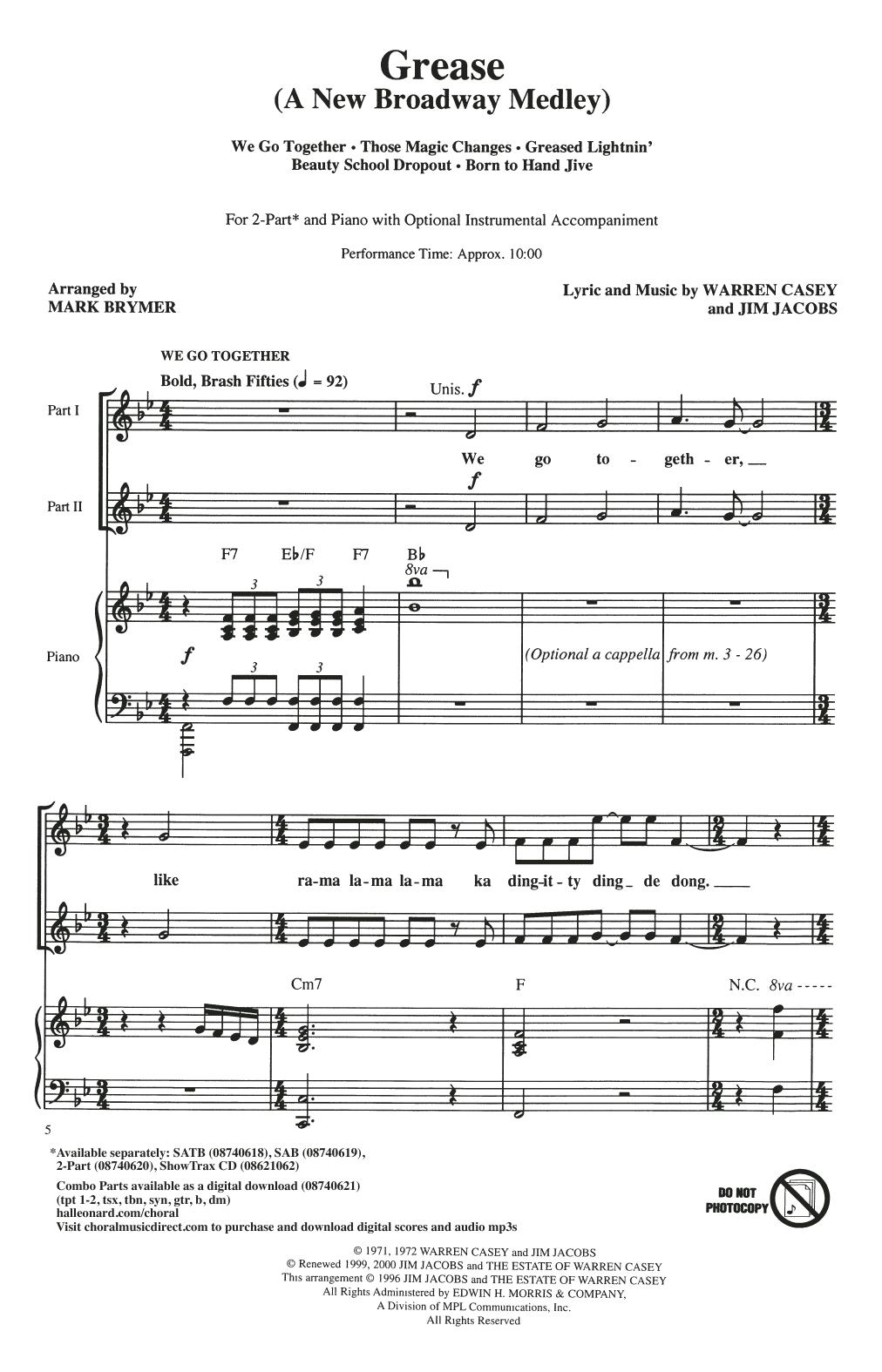 Grease: A New Broadway Medley (arr. Mark Brymer) (2-Part Choir)