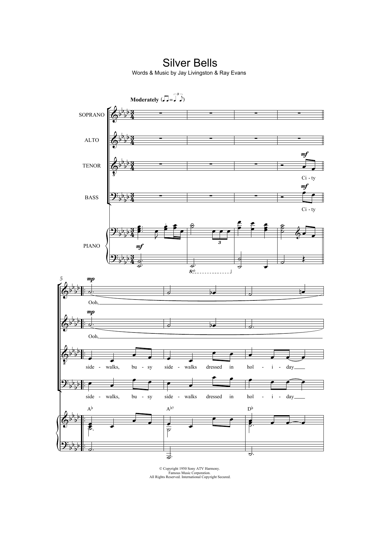 Silver Bells Choral Satb Sheet Music By By Jay Livingston Satb
