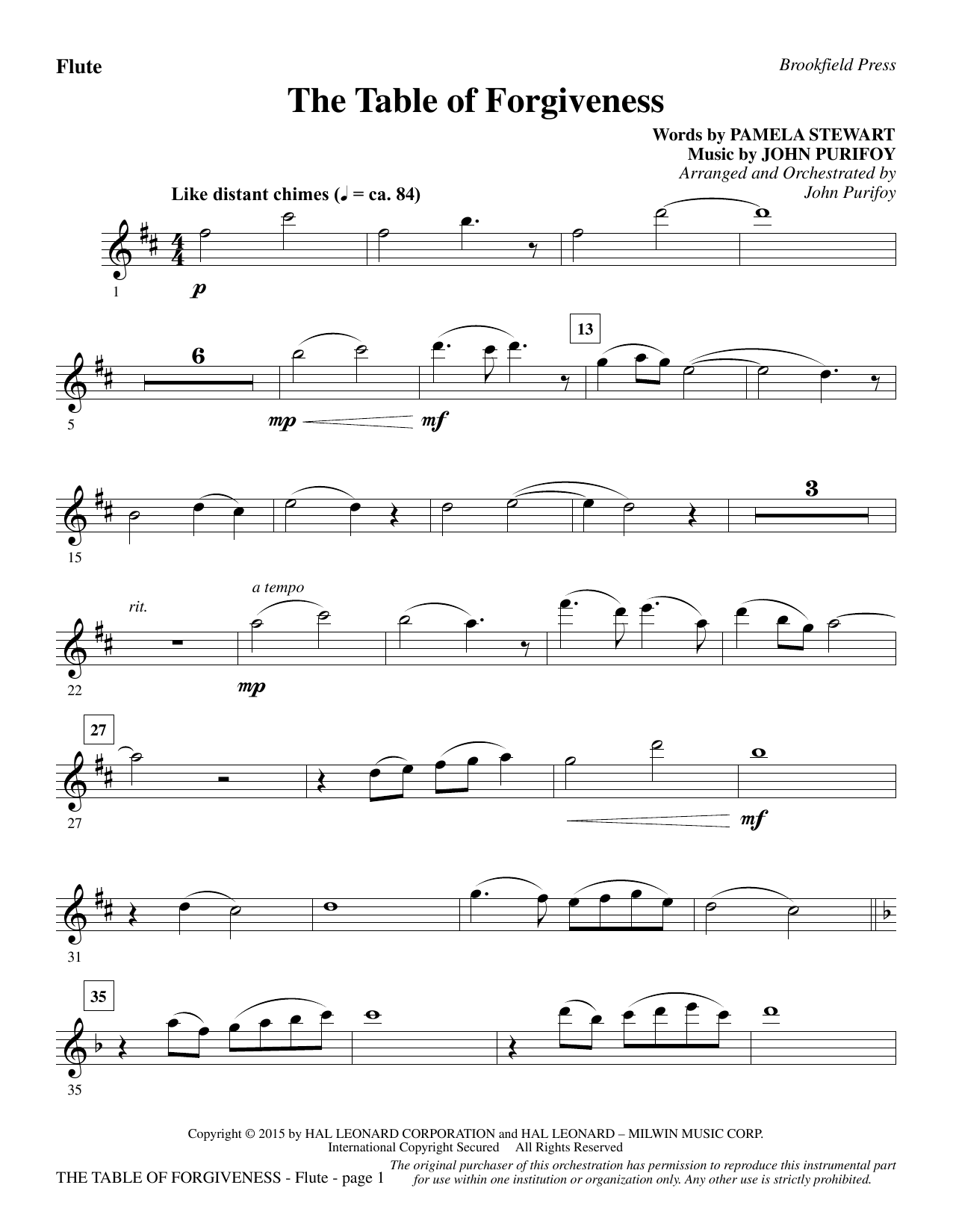 The Table of Forgiveness - Flute Sheet Music