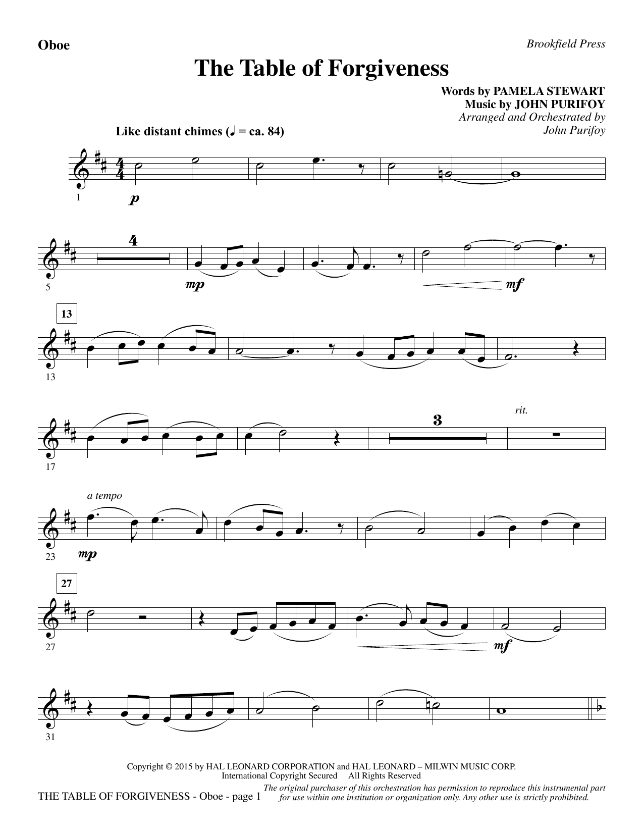 The Table of Forgiveness - Oboe Sheet Music