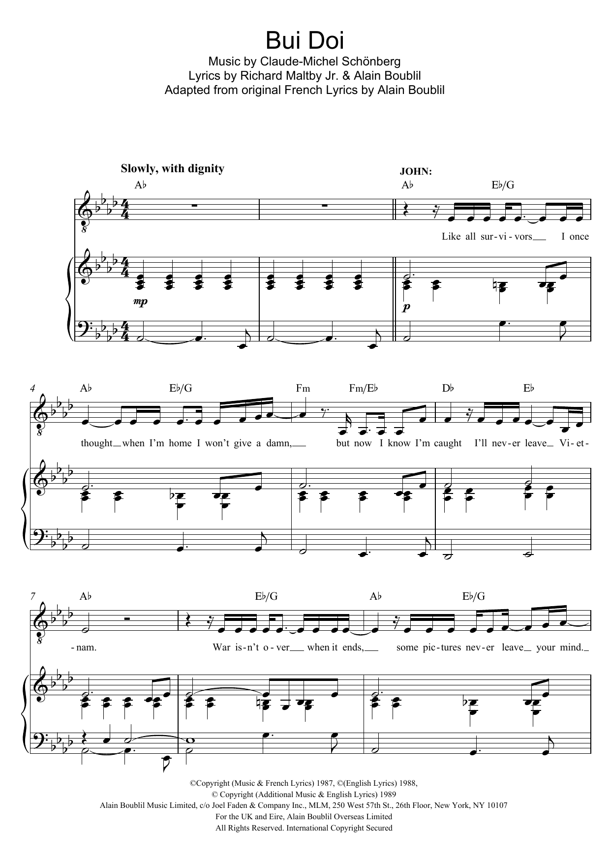 Bui-Doi (from Miss Saigon) Sheet Music