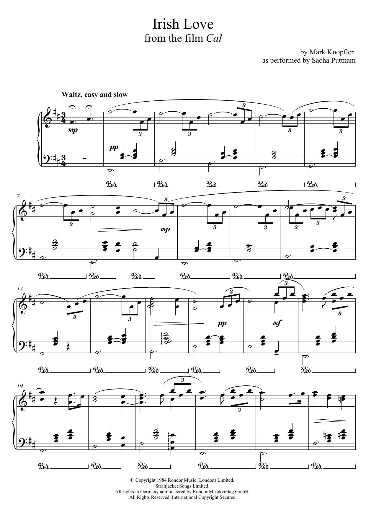 Irish Love (from Cal) (as performed by Sacha Puttnam) Sheet Music