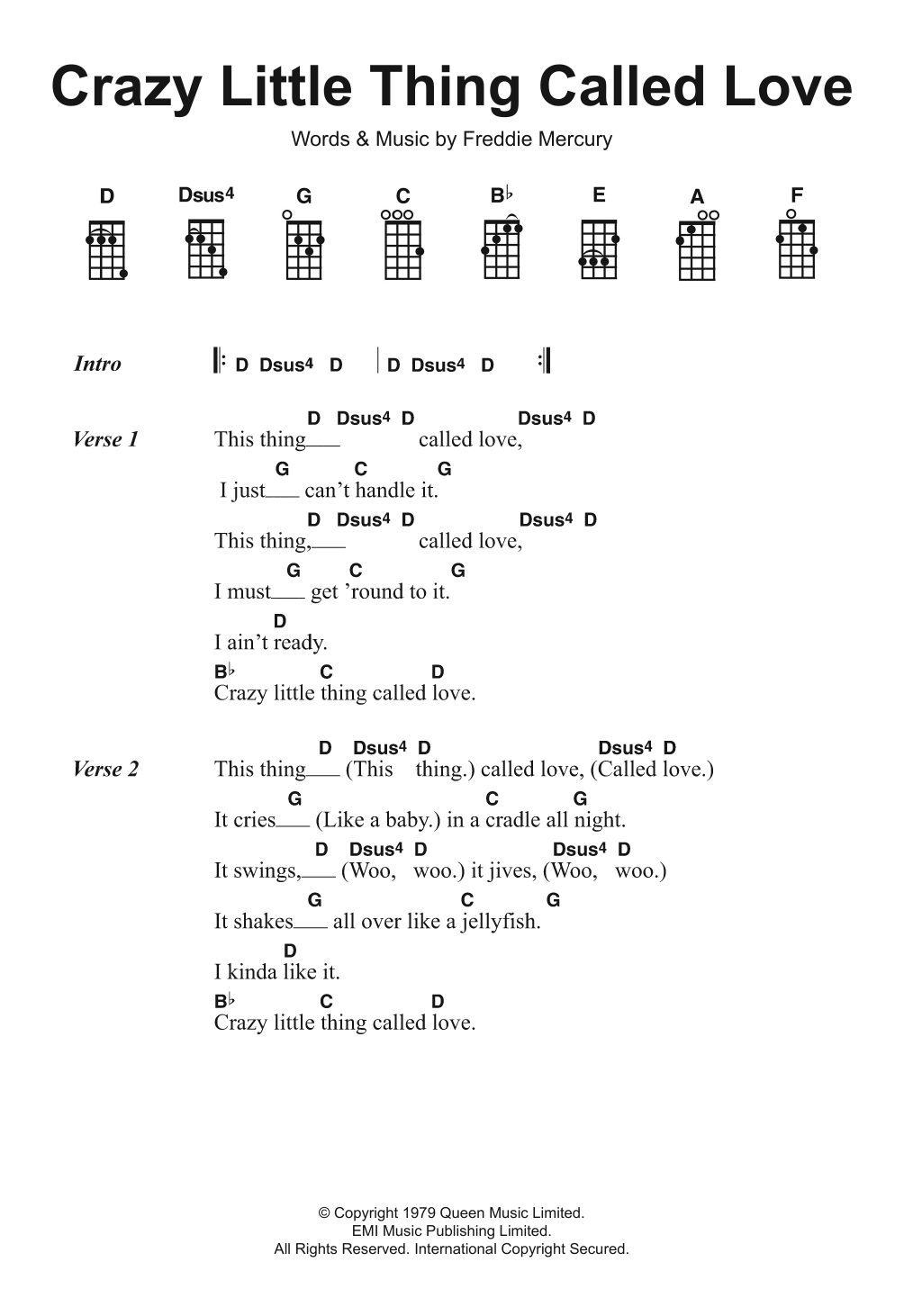 Crazy Little Thing Called Love Sheet Music Queen Ukulele