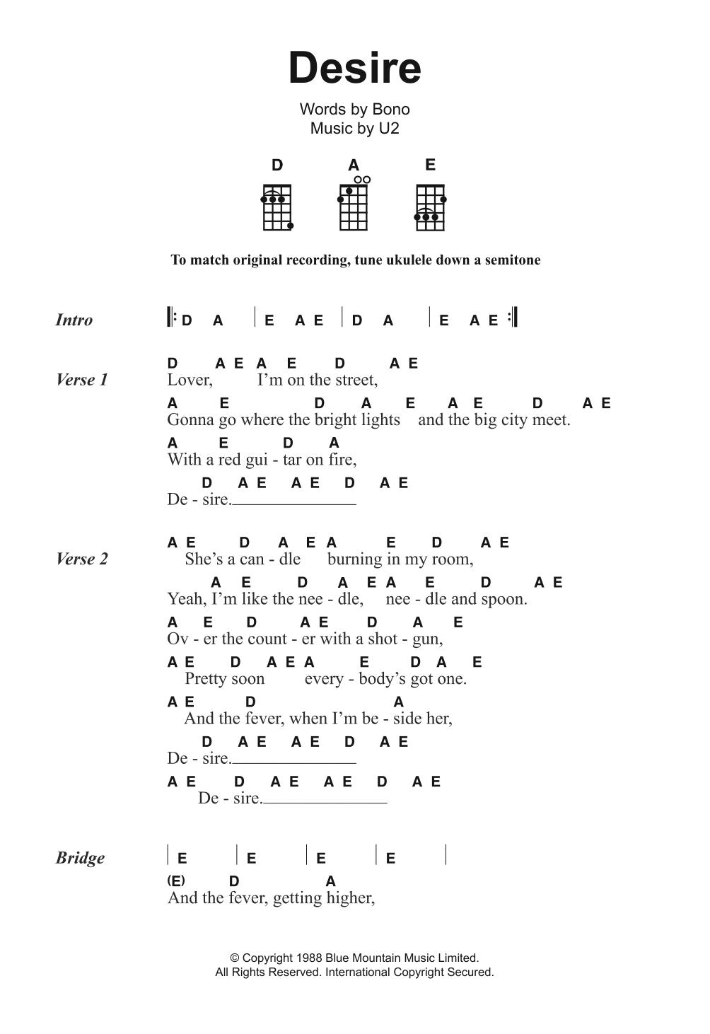 Desire By U2 Ukulele Guitar Instructor