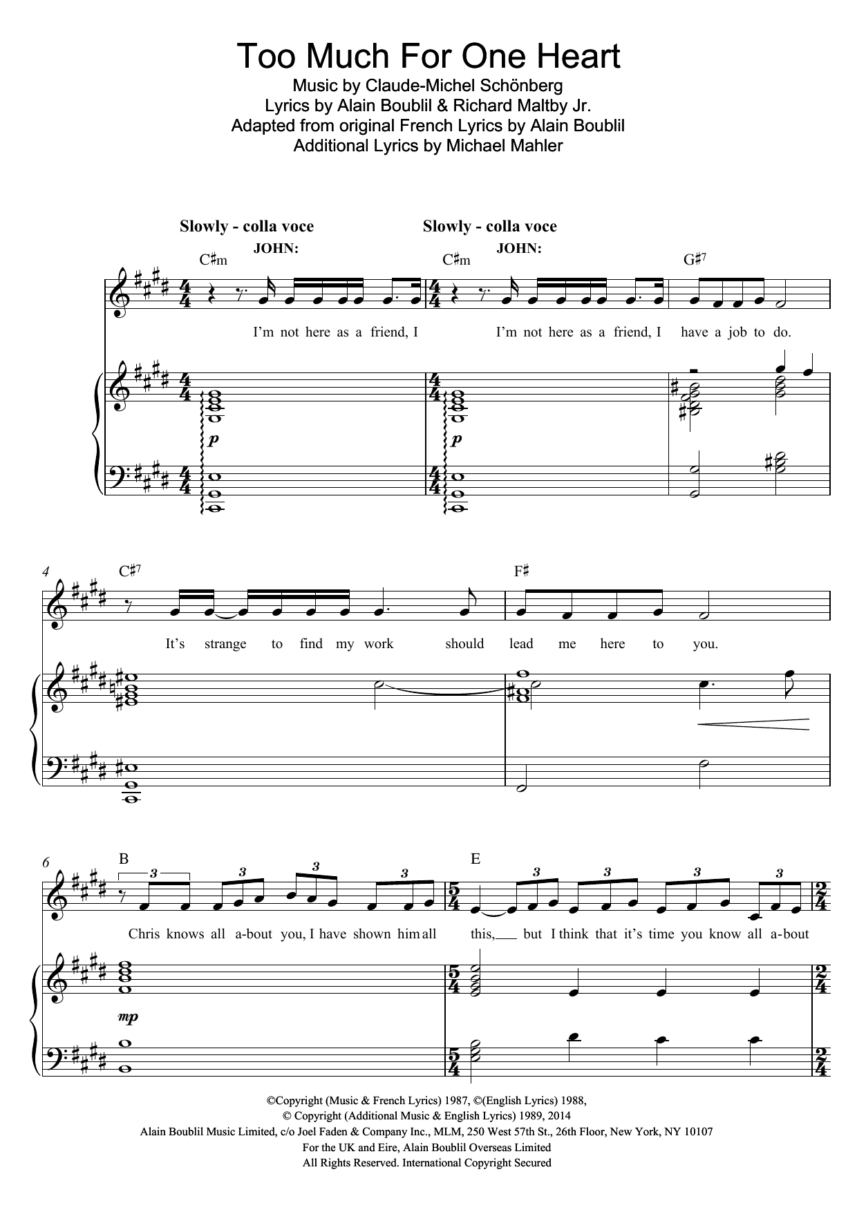 Too Much For One Heart (from Miss Saigon) Sheet Music