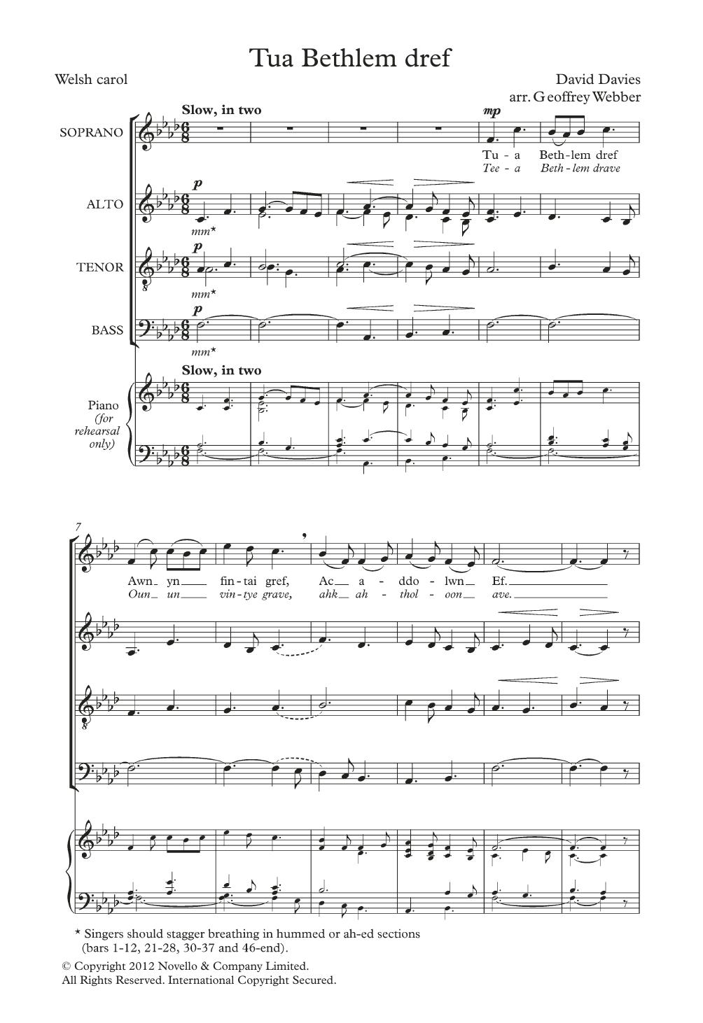 Tua Bethlem Dref (arr. Geoffrey Webber) Sheet Music