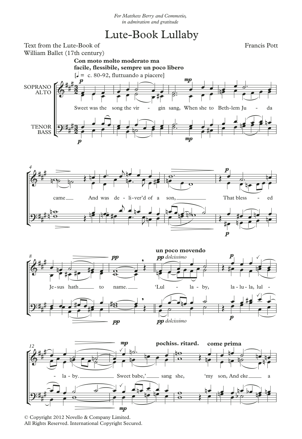 Lute-Book Lullaby Sheet Music
