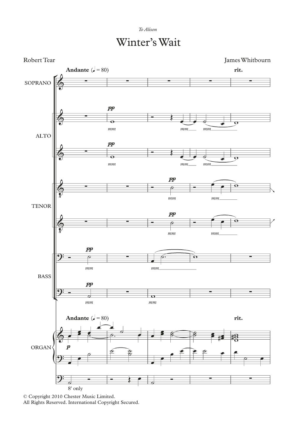 Winter's Wait Sheet Music