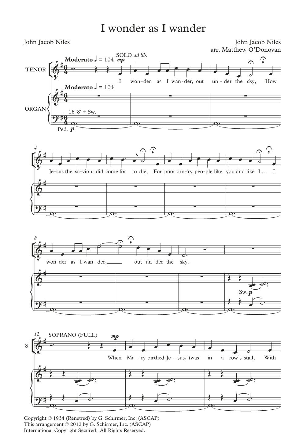 I Wonder As I Wander (arr. Matthew O'Donovan) Sheet Music
