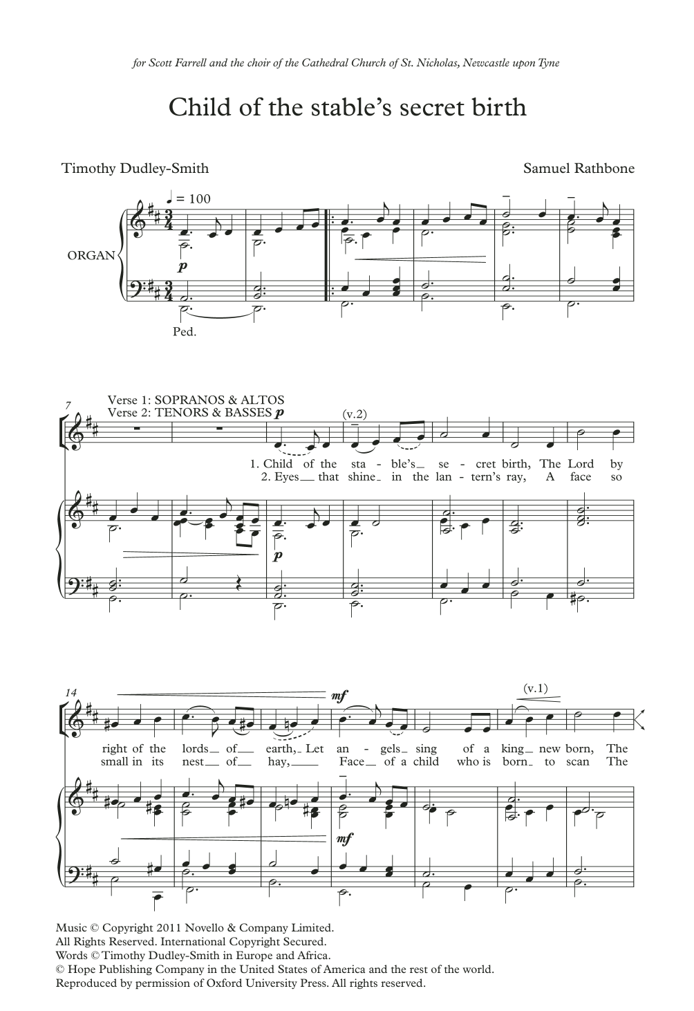 Child Of The Stable's Secret Birth Sheet Music
