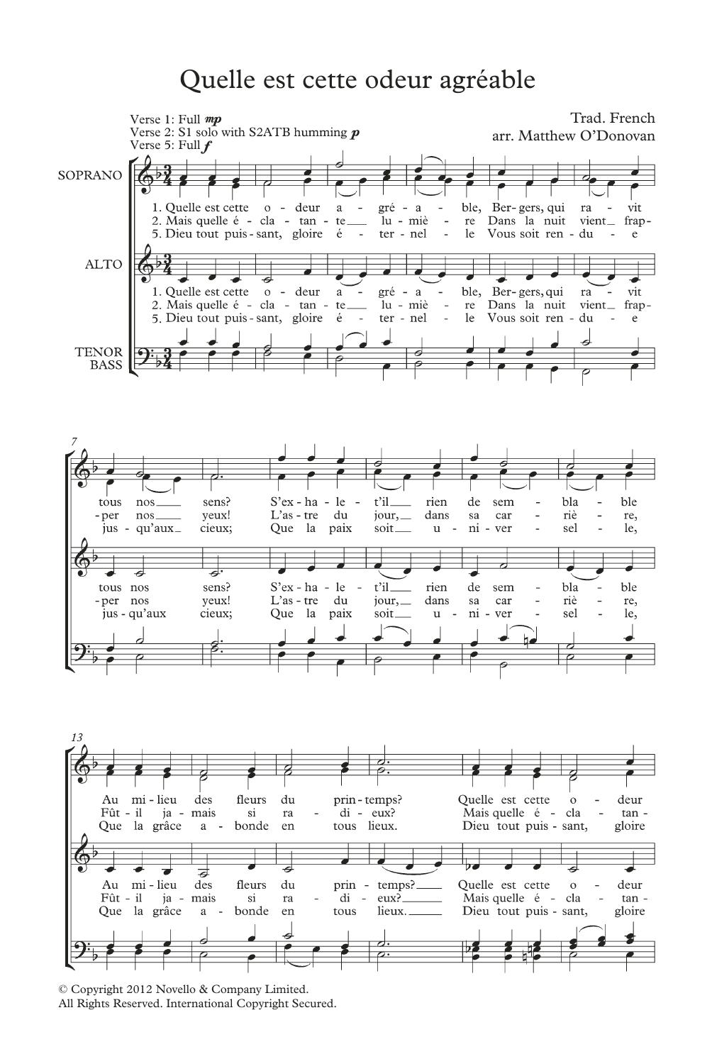 Quelle Est Cette Odeur Agreable (arr. Matthew O'Donovan) Sheet Music