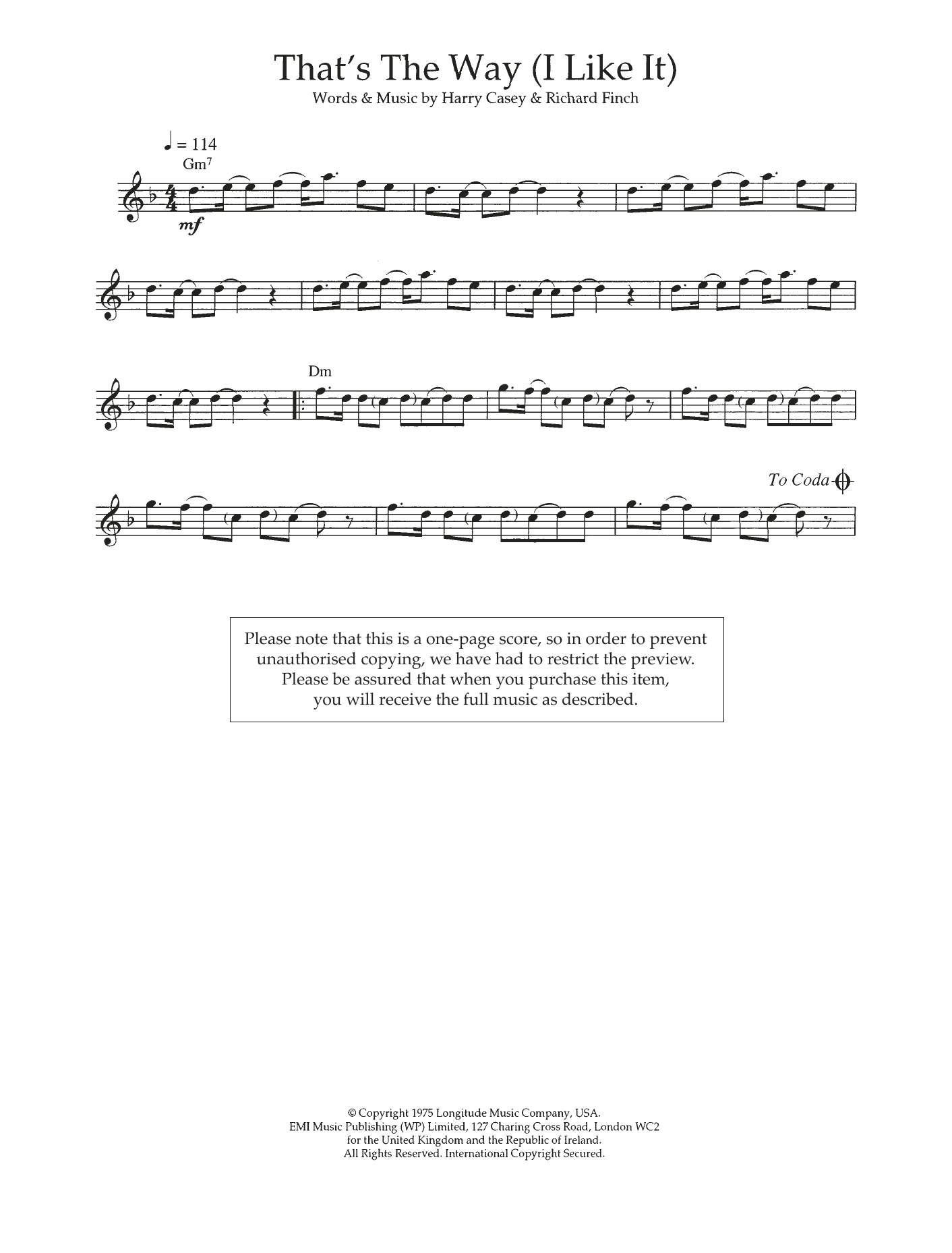 That's The Way (I Like It) Sheet Music