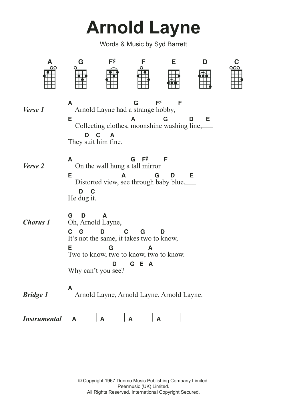 Arnold Layne Sheet Music
